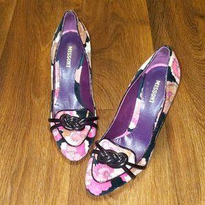 Missoni Flower Pattern Velvet Heels sz 8